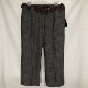 NWT AGB Brown Capri Pants with Belt Size 6